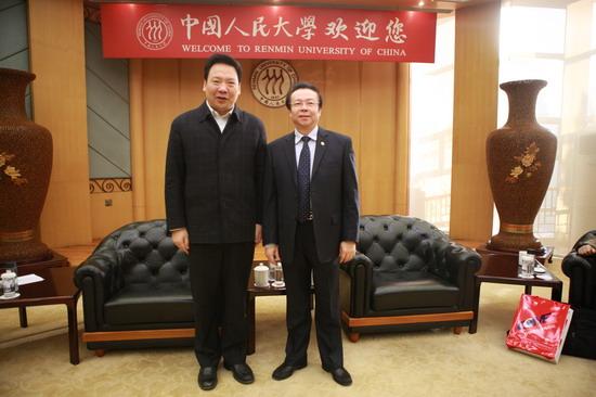 赖小民与其小老婆_赖小民董事长与中国人民大学校长陈雨露合影留念